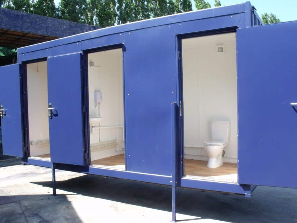 Bespoke container conversions 3 berth toilet unit for Shipping container public bathroom