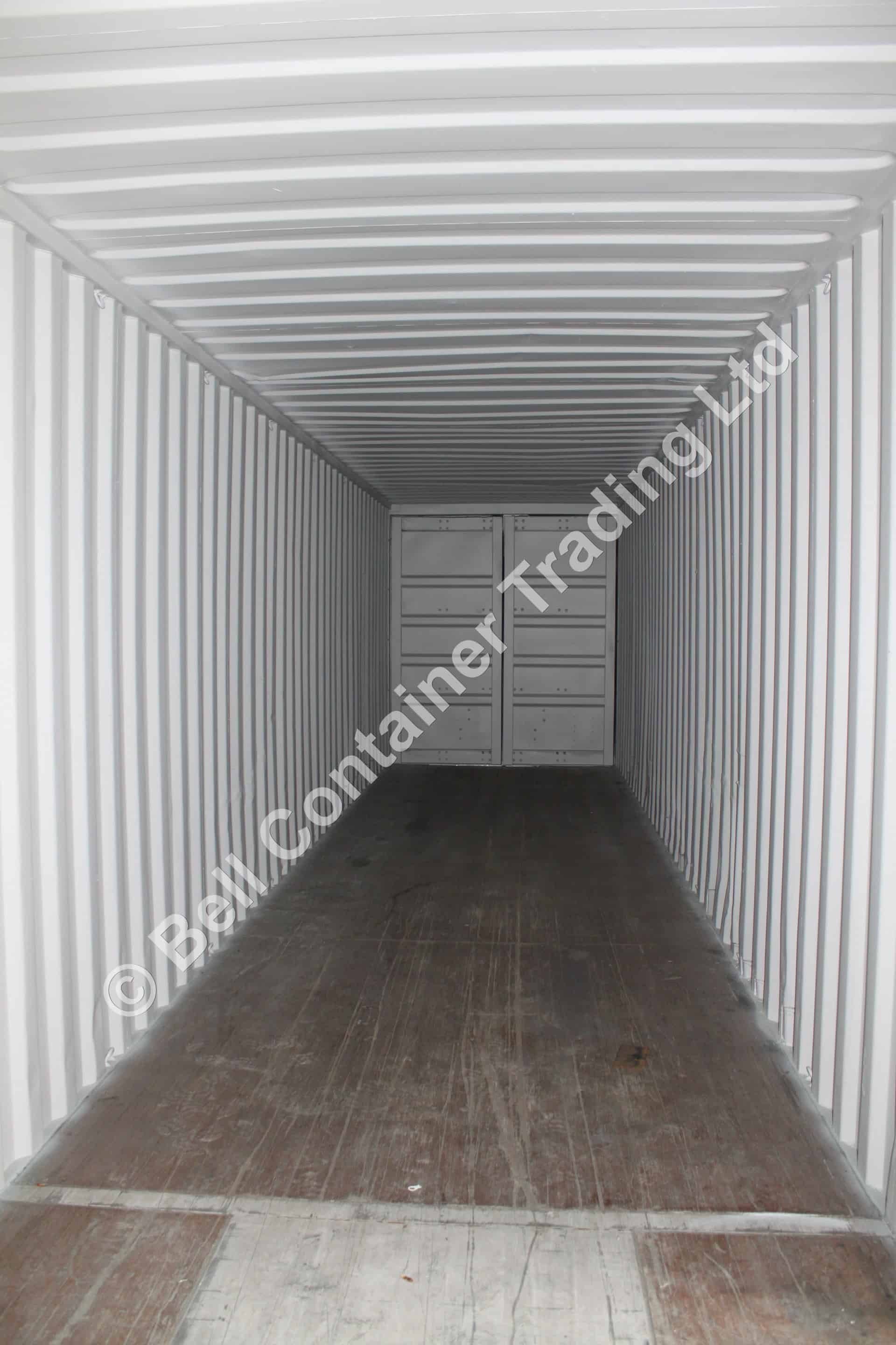 inside converted 40ft shipping container