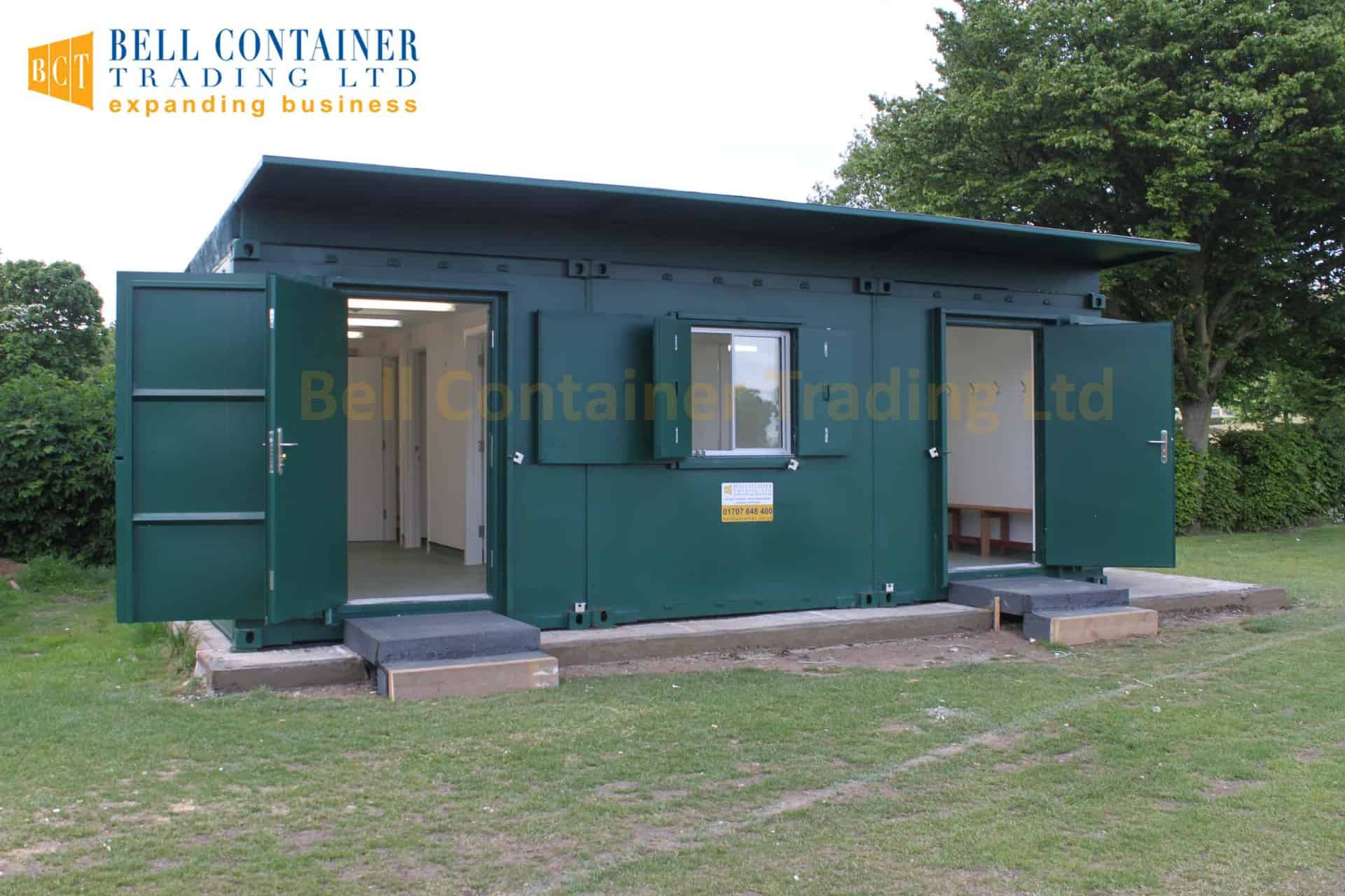 shipping container changing room conversion