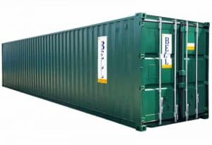 40ft x 8ft 12m steel storage container from hire fleet green container 010