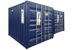 10ft storage containers for hire and sale doors closed blue RAL 5013 017