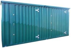 2 x flat pack steel storage units linked on site