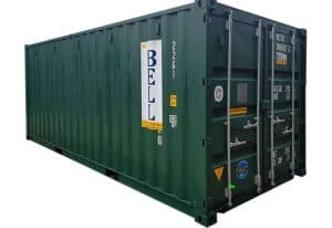20 x 8 green RAL 6005 NEW one trip doors closed 024