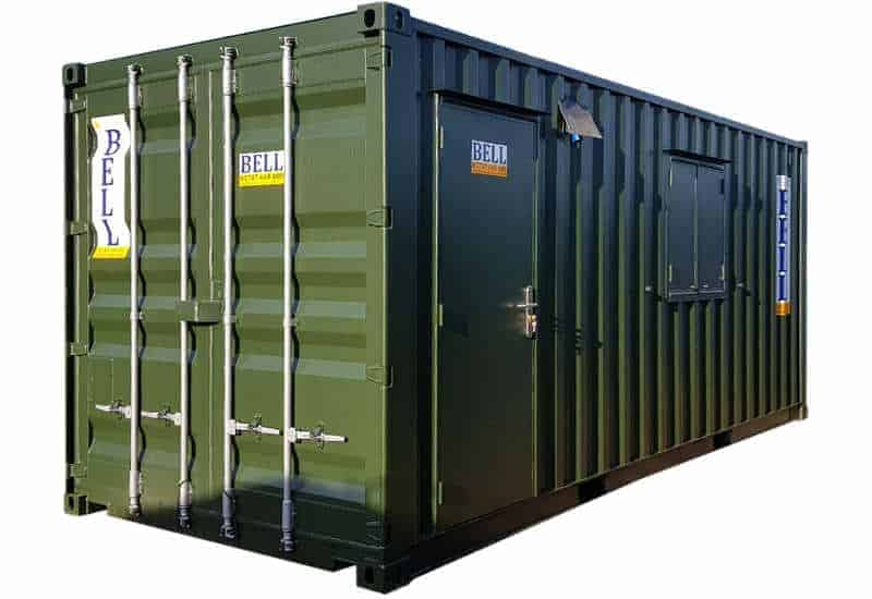 20ft office and storage container with double doors and person 1