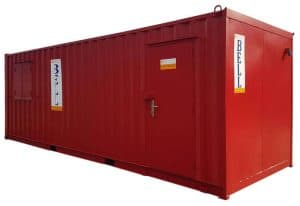 24ft office unit externally painted red