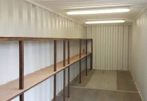 30 x 8 container with 2 tier racking and electrics 2 047