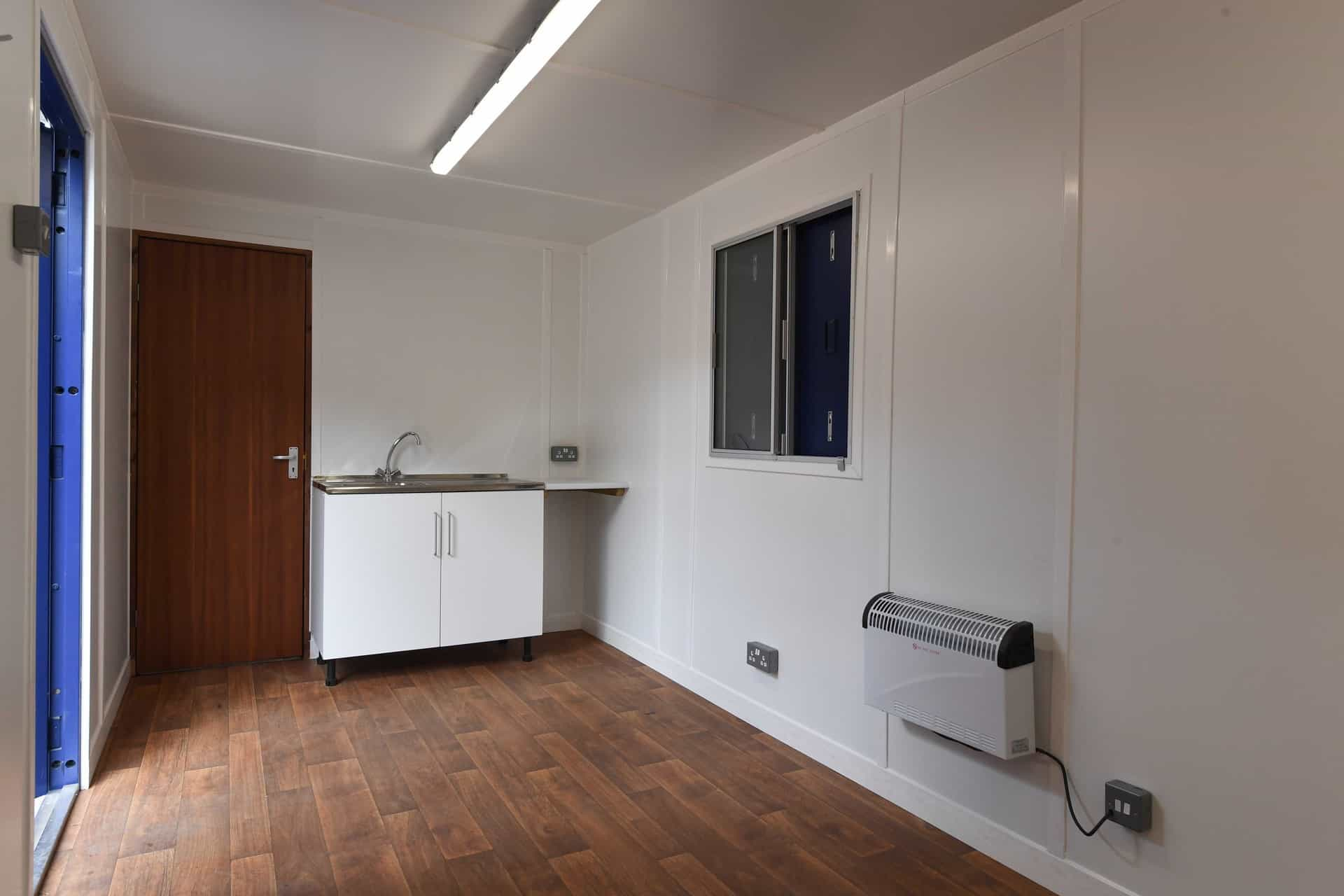 40ft office container conversion with sink unit and hot water boiler