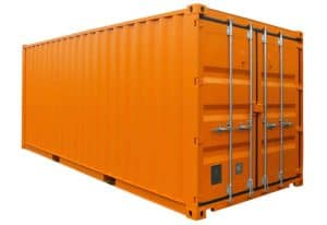 bespoke 20ft storage container 20 x 8 hire fleet painted orange 049 1