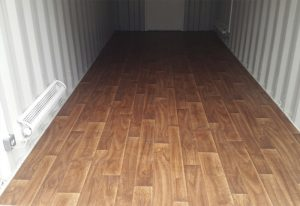 laminate style vinyl flooring inside container 050