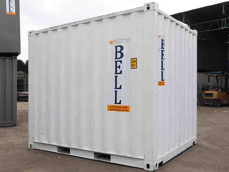 10 x 8 10ft 3m steel storage container from hire fleet white unit London hire fleet