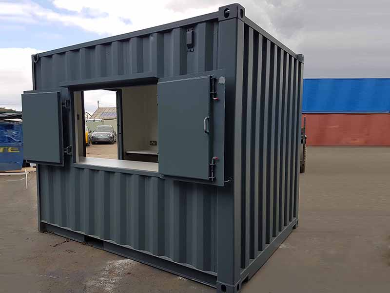 10ft container with outward opening serving hatch open