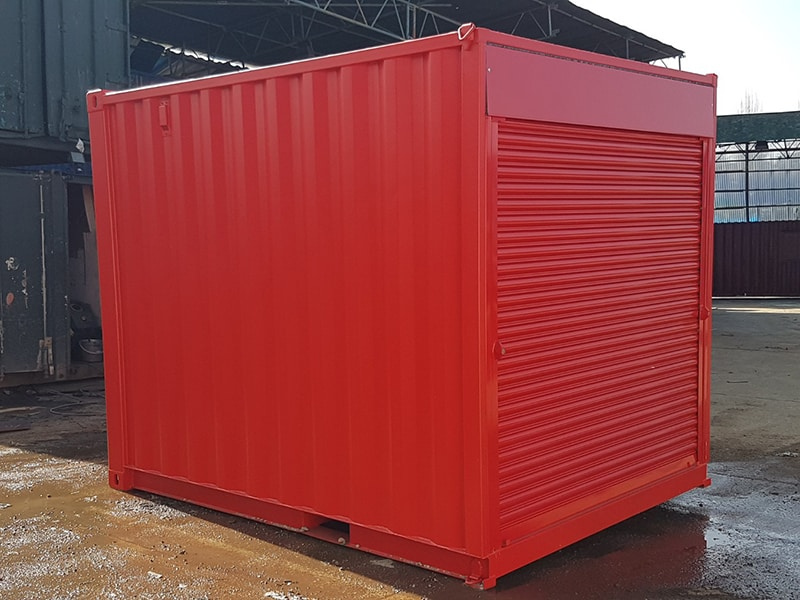10ft container with roller shutter doors at 8ft end