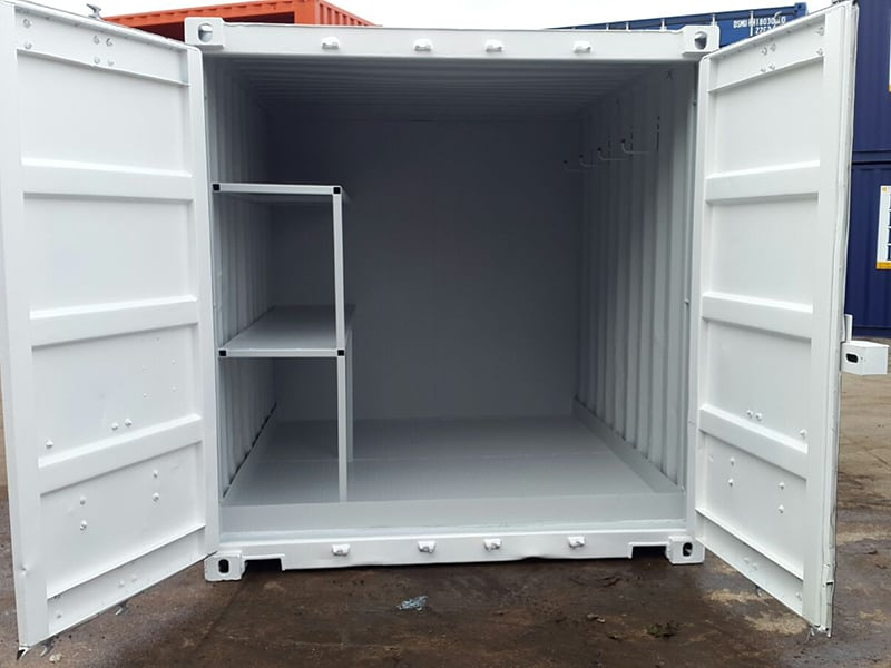 10ft container with steel shelving and a bunded durbar plated floor