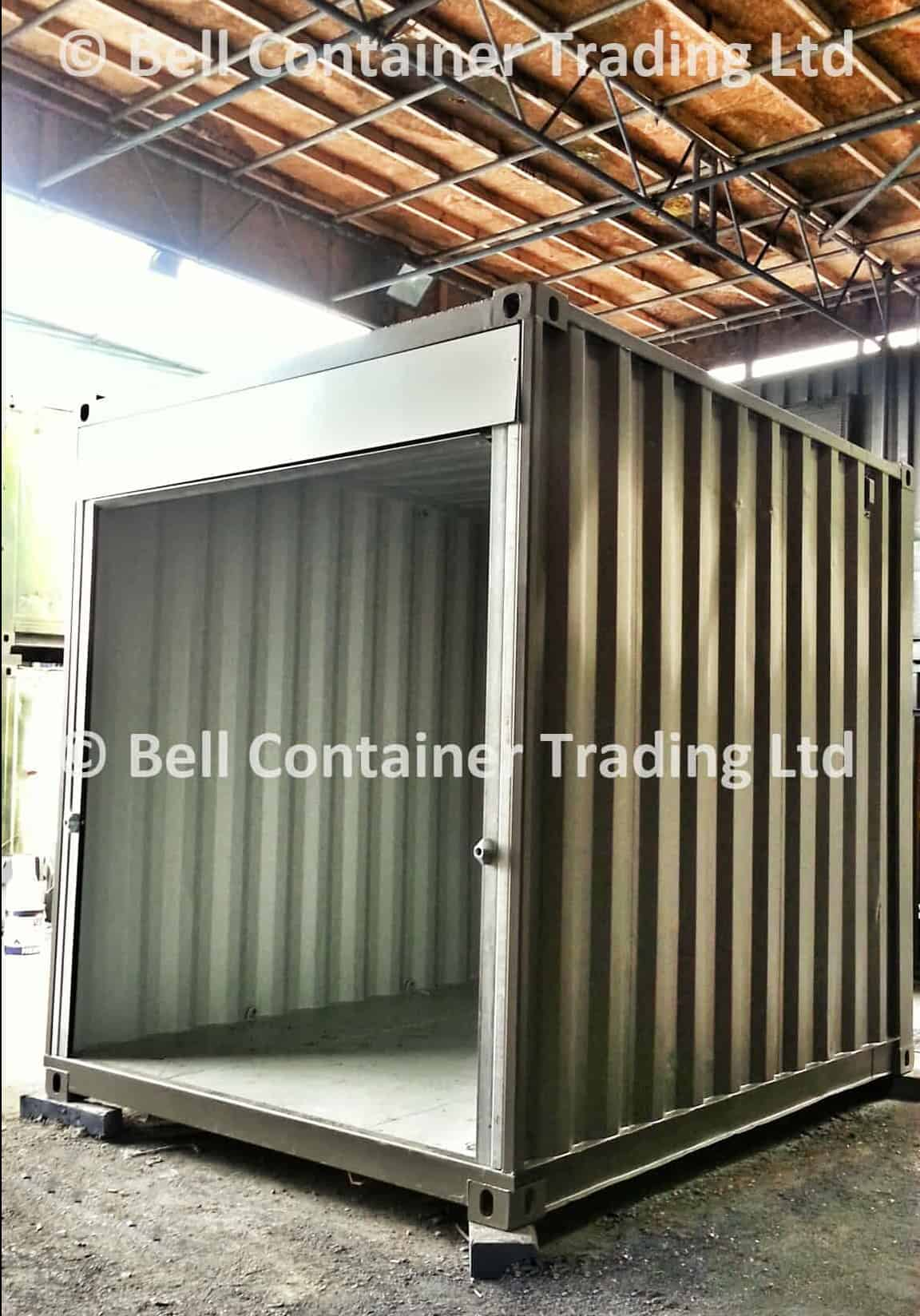 10ft high cube market stall roller shutter open