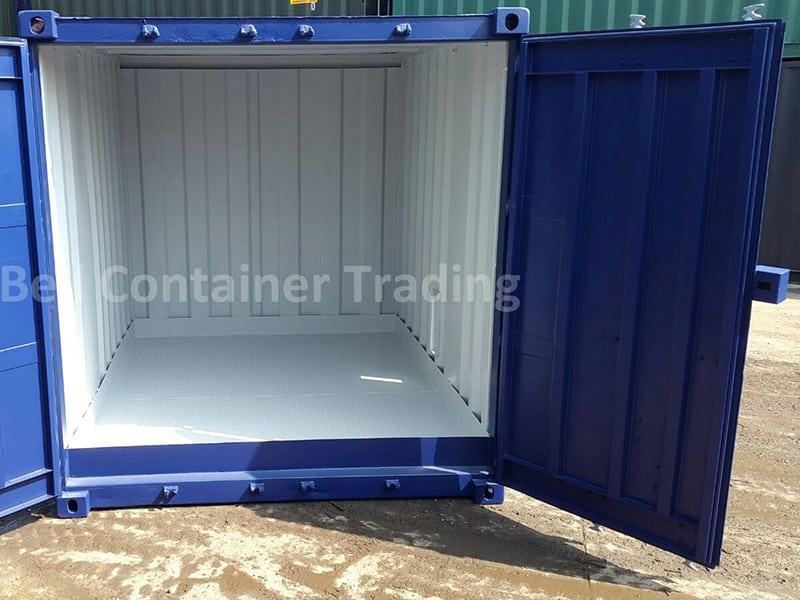 10ft storage container with steel flooring doors open