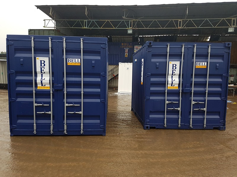 10ft x 8ft 3m storage containers from hire fleet with original doors blue RAL 5013 original doors