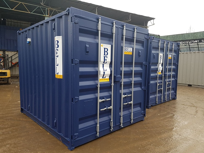 10ft x 8ft 3m storage containers from hire fleet with original doors blue RAL 5013