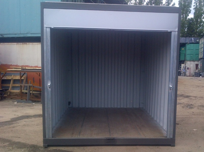 10ft x 8ft container grey with roller shutters