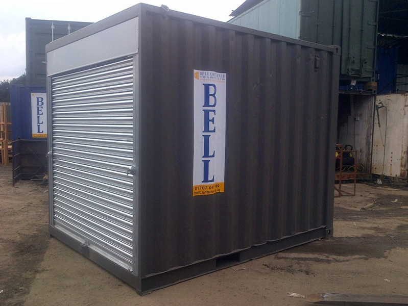10ft x 8ft container with roller shutter doors closed