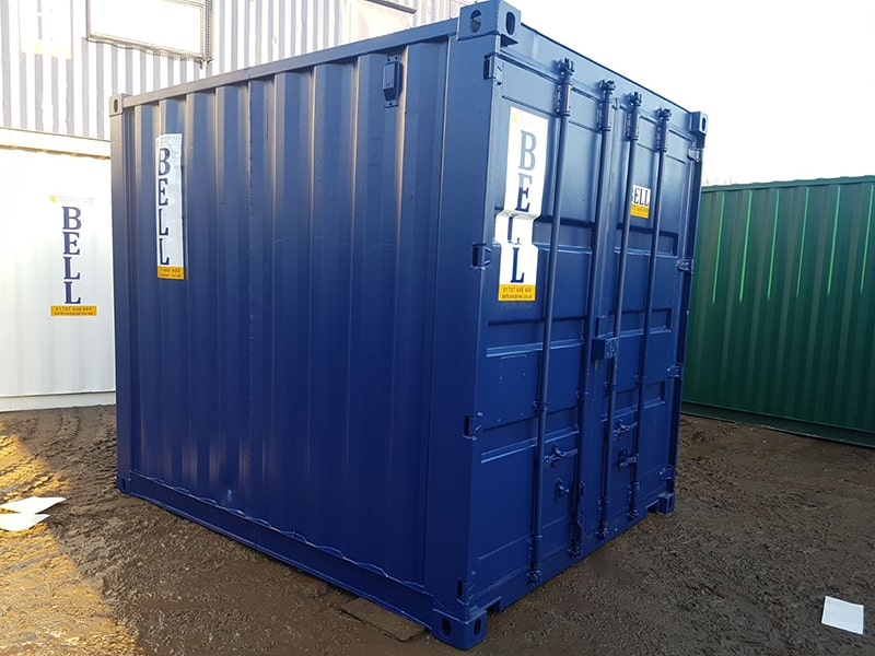 10ft x 8ft steel storage container blue RAL 5013 doors closed