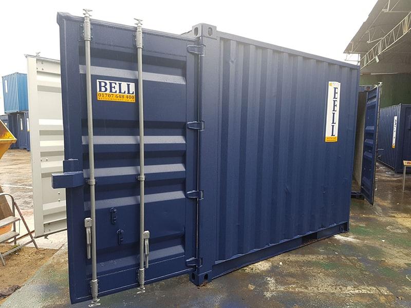 10ft x 8ft steel storage container blue RAL 5013 doors open