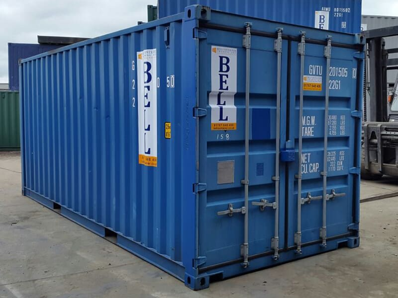 20ft steel storage containers in blue - two units