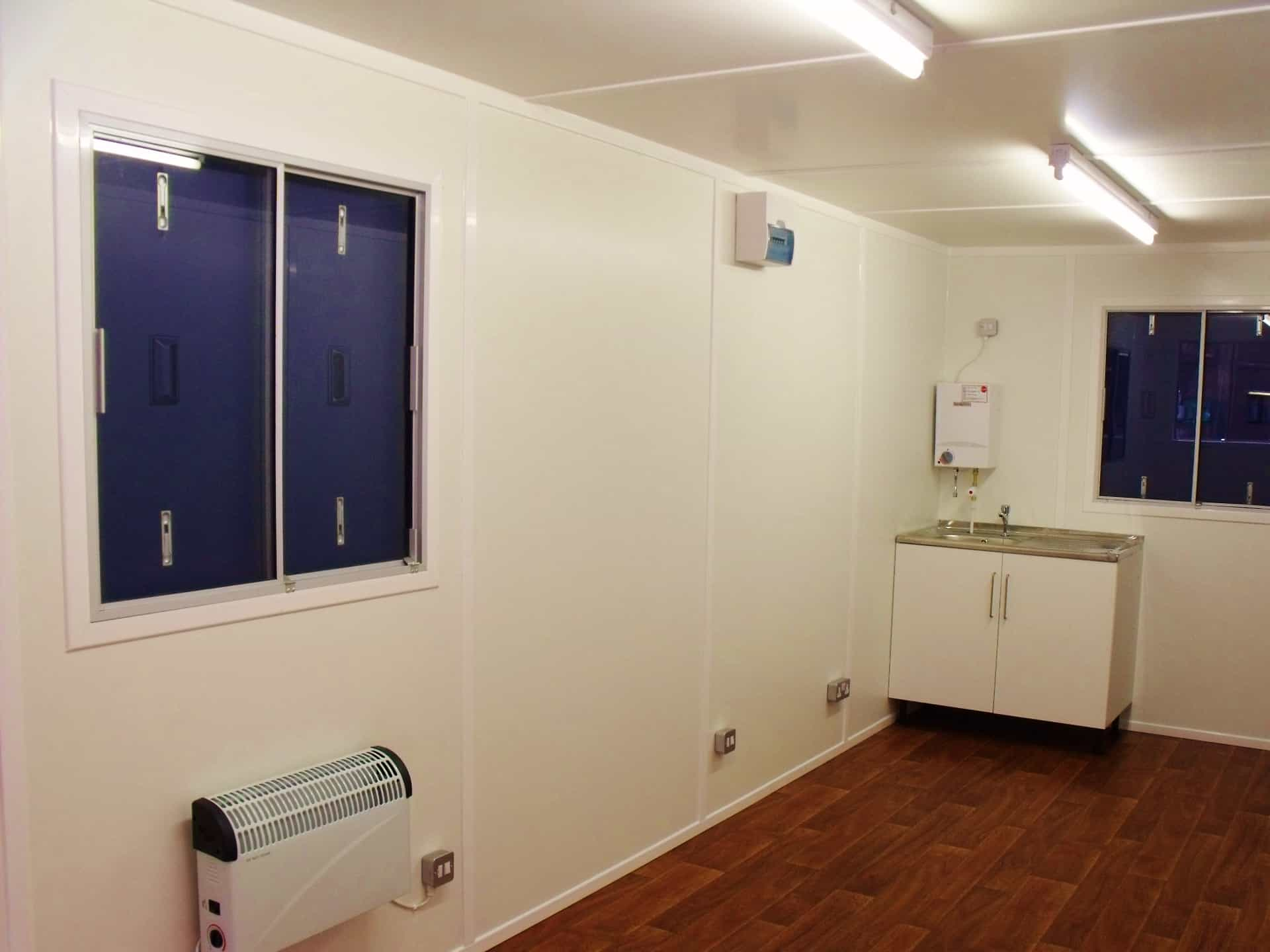 20ft shipping container conversions – canteen with sink