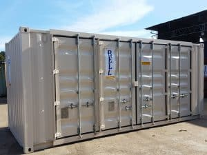20ft container with retro fit side doors providing 16ft access along side side acc