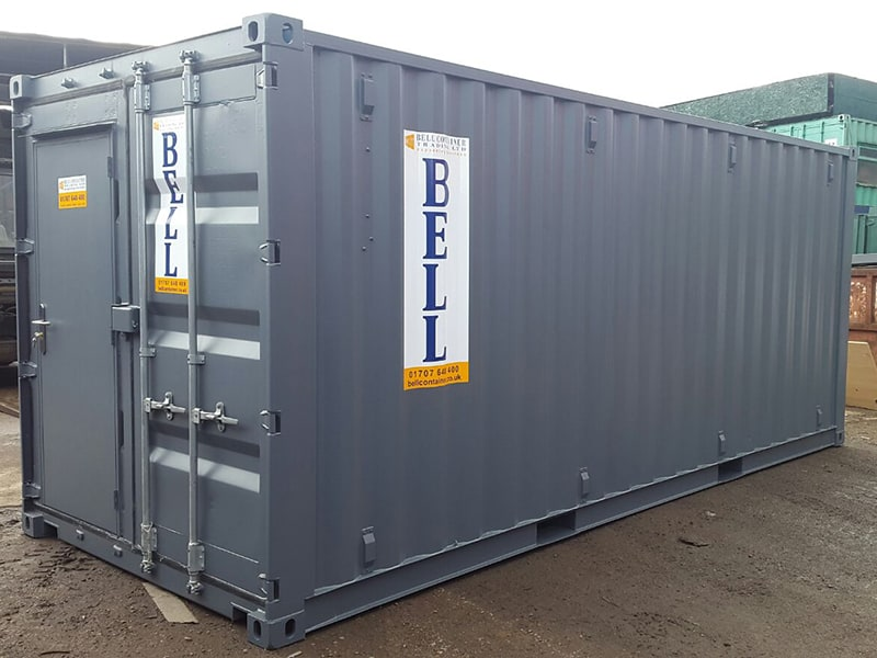 20ft container with retro fit steel personnel door into original container doors