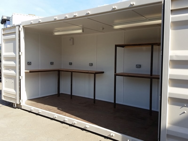 20ft container with side access and timber and ply shelving