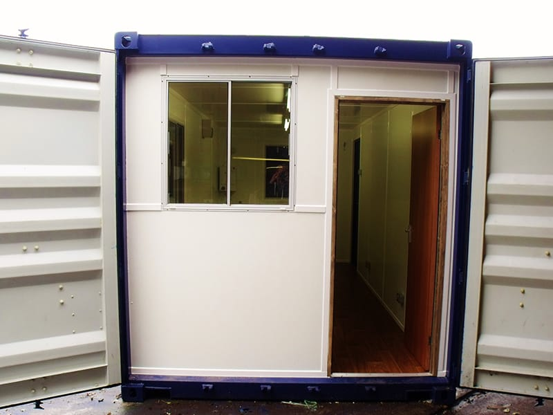 20ft office container conversion doors opening