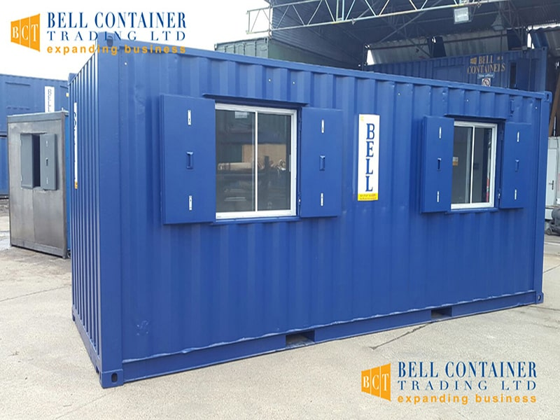 20ft office unit with sliding glass windows and steel shutters