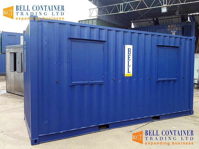 20ft office unit with windows and shutters closed