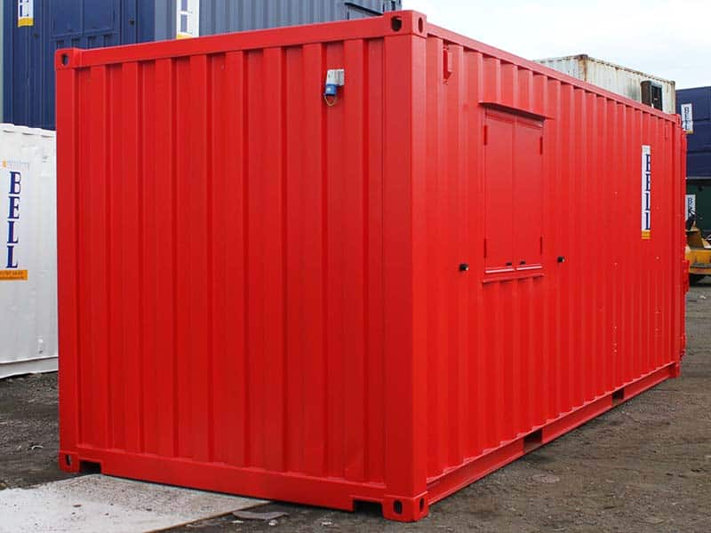 20ft partitioned office and storage container red external sales fleet unit