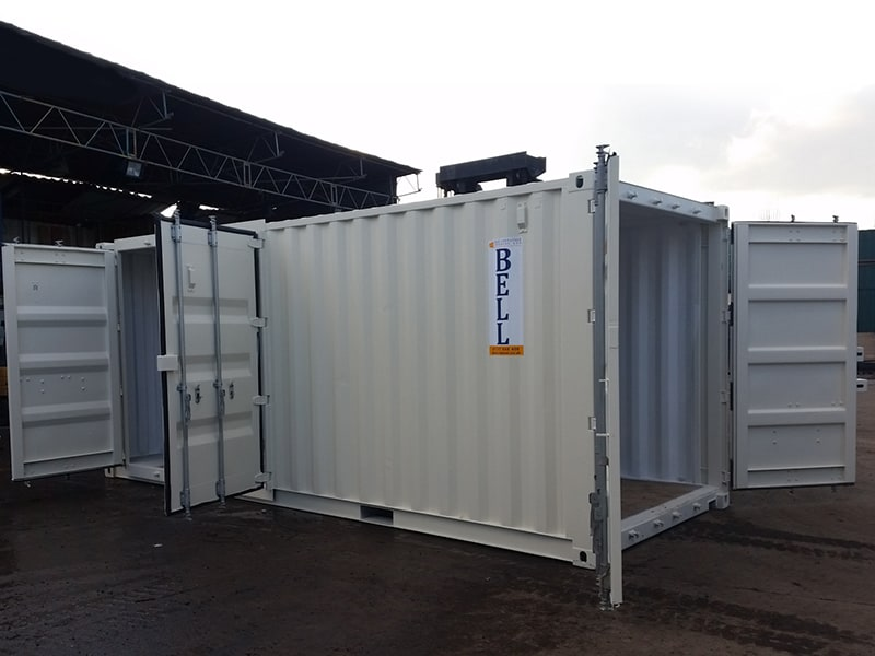 20ft storage container with end door and side door access retro fit