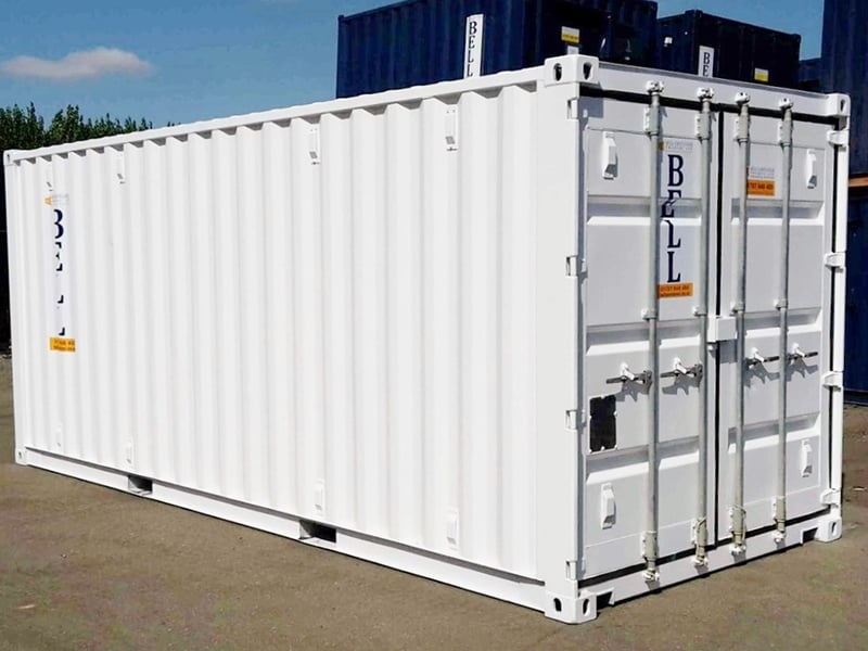 20ft x 8ft 6m storage container externally finished white from hire fleet