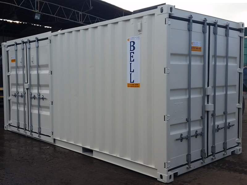 20ft x 8ft container with end doors and side access doors