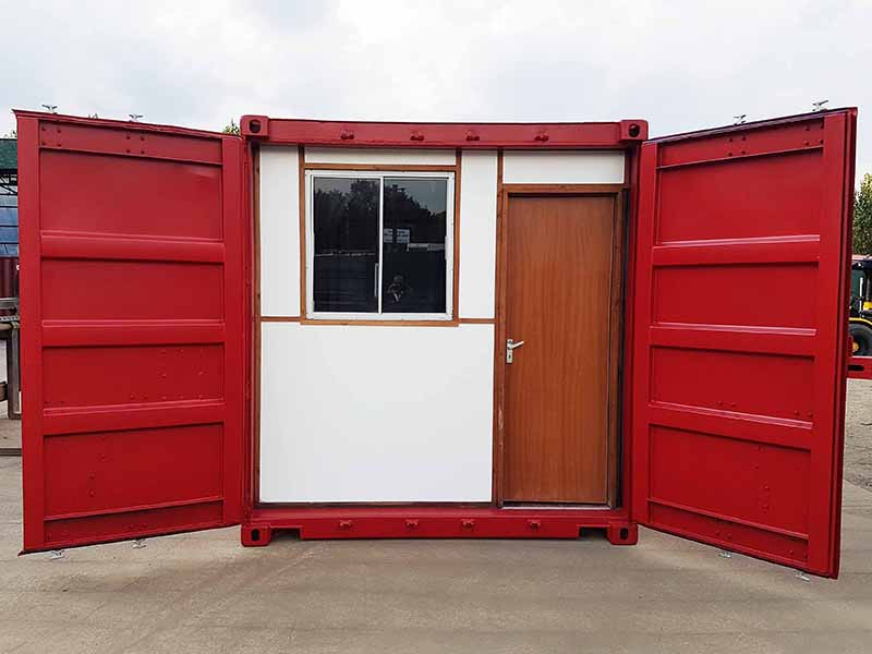 24ft office container with double doors and bulkhead partition access