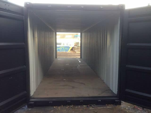 30ft shipping container tunnels interior doors open