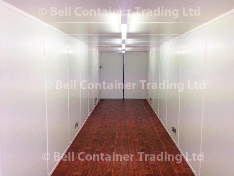 40ft container conversion electrics lining and lino flooring interior