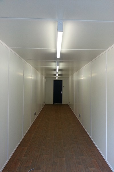 40ft container conversion with internal walls and ceiling lined