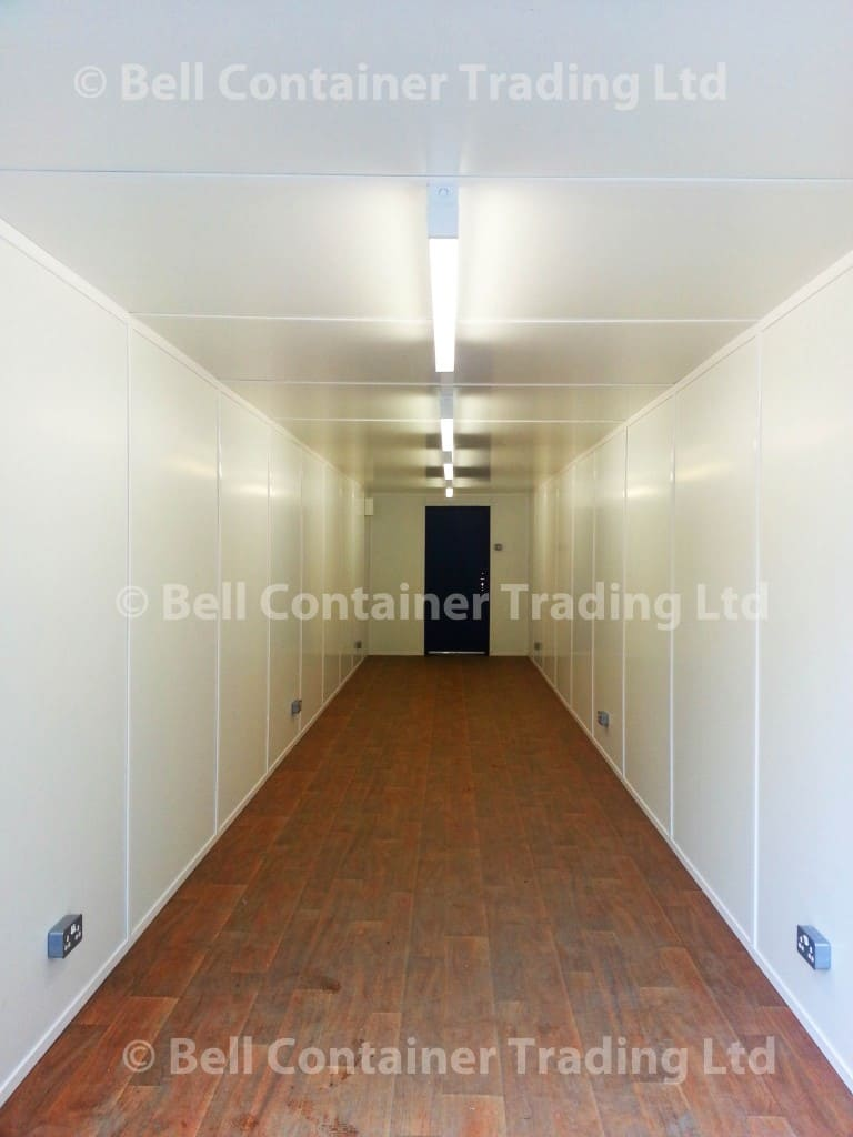 40ft shipping container conversion internal full lining electrics and flooring