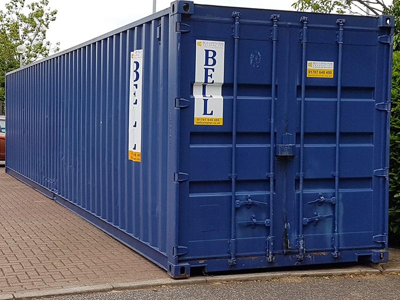 40ft x 8ft 12m storage container hire on site London depot blue colour