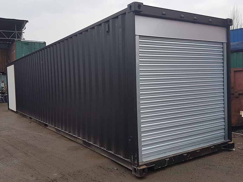 40ft x 8ft container with power operated roller shutter doors