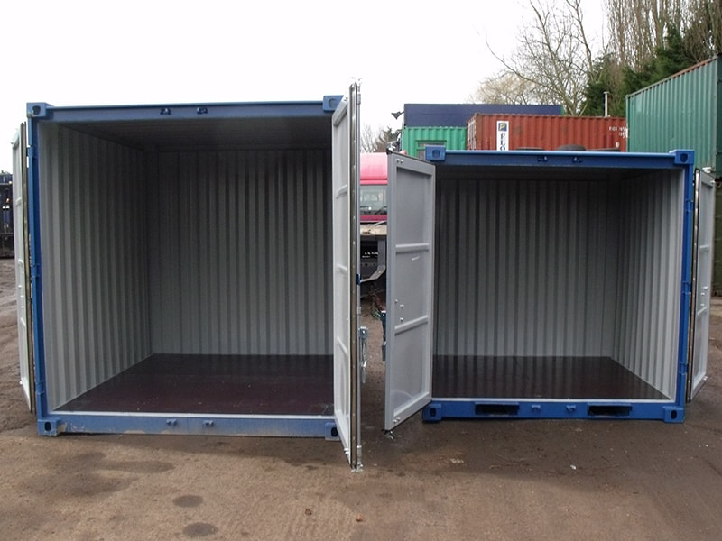8 x 7 and 6 mini containers doors open