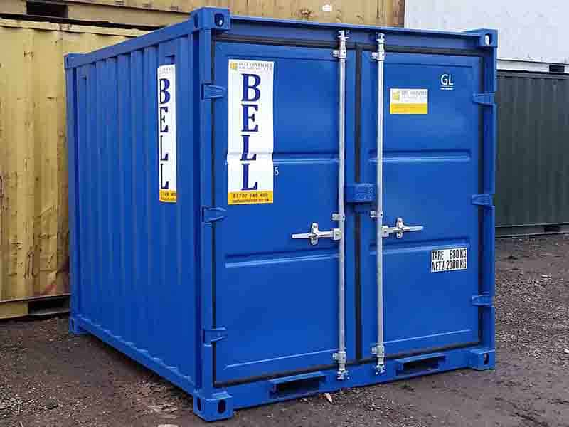 8ft x 7ft steel storage container doors closed