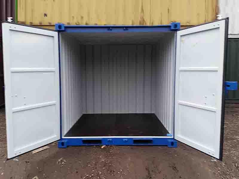 8ft x 7ft steel storage container doors open