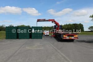 Green 40ft containers hi ab delivery