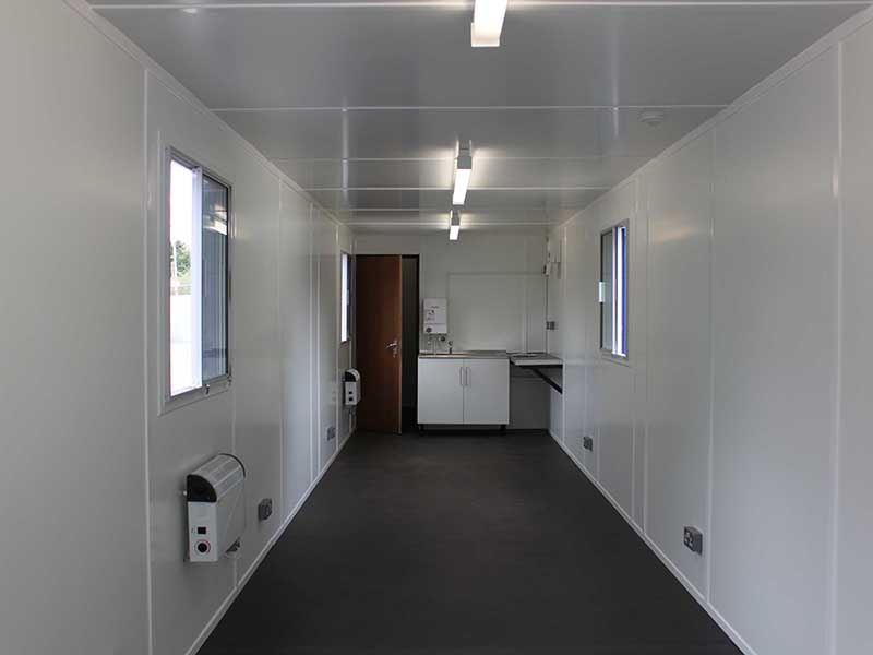 Inside bespoke 40ft converted canteen container