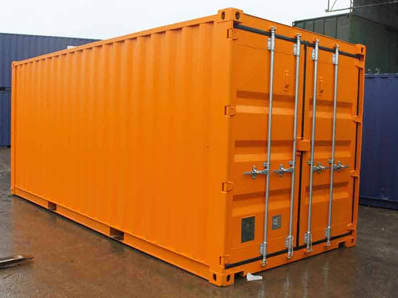 bespoke 20ft storage container 20 x 8 hire fleet painted orange